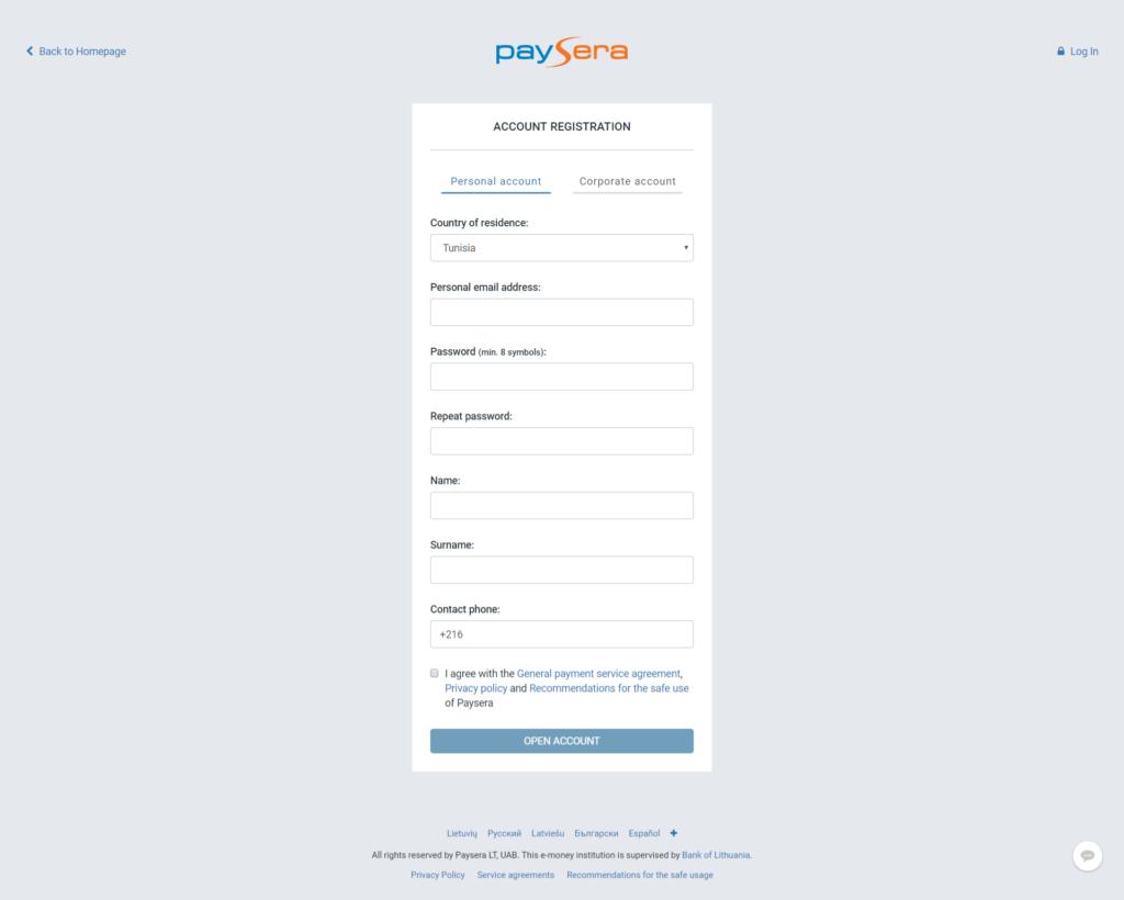paysera avis et critiques - interface inscription