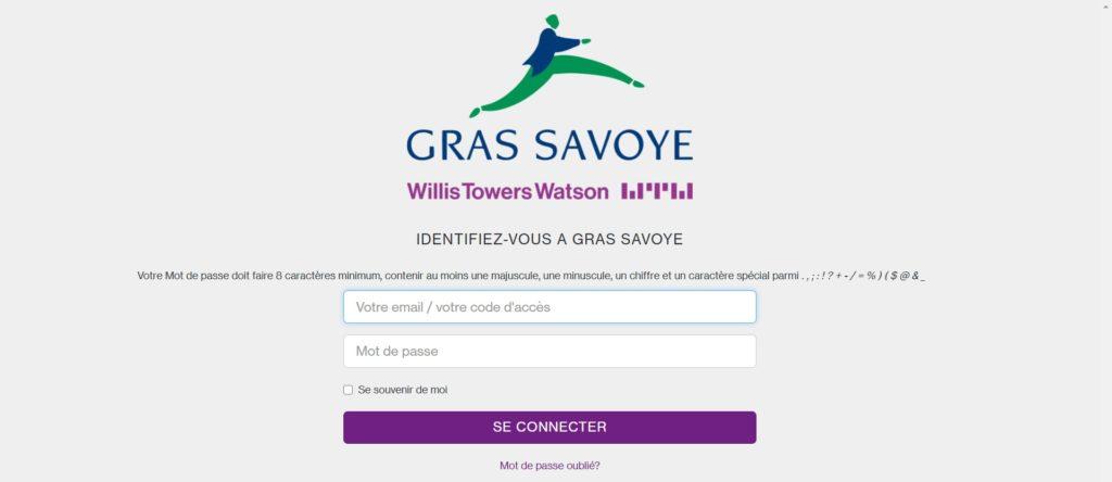 Interface de connexion sso.grassavoye.com