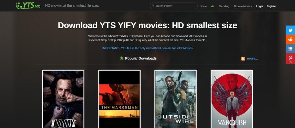 Meilleurs Sites de Téléchargement Torrent films - YTS