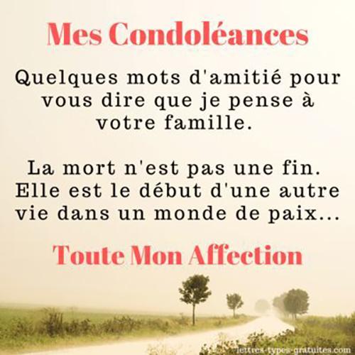 Messages de Condoléances courts pour Famille : Quelques mots d'amitié pour vous dire que je pense à votre famille.La mort n'est pas une fin. Elle est le début d'une autre vie dans un monde de paix.