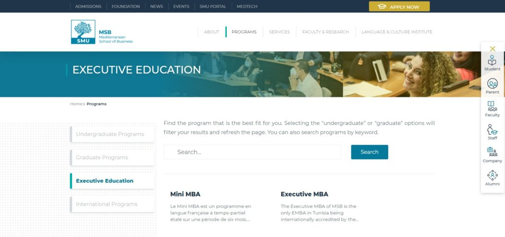 The Mediterranean School of Business (MSB) : Executive MBA