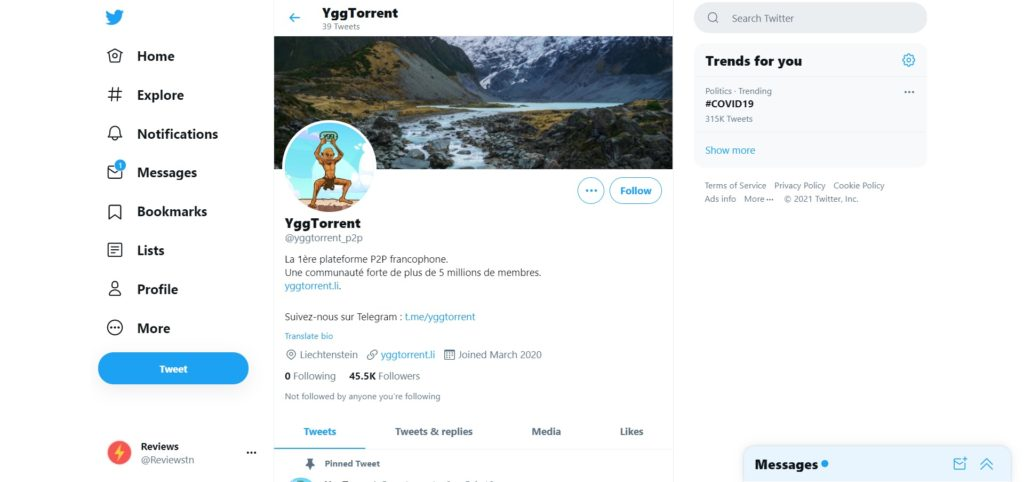Twitter YggTorrent - Attention aux liens vers YggTorrent