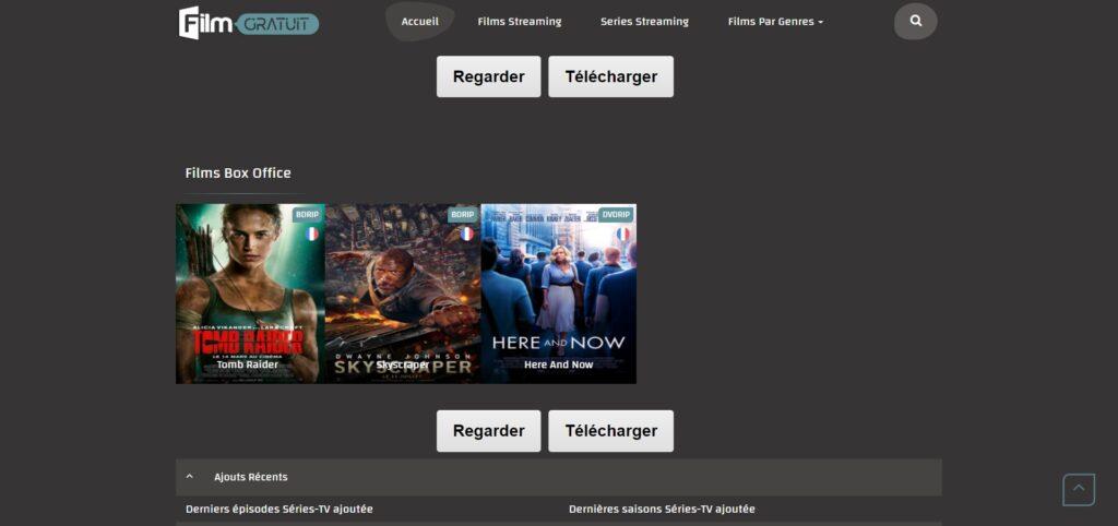 Page d'accueil de Filmgratuit.net - Attention filmgratuit.eu est un clone qui demande une inscription