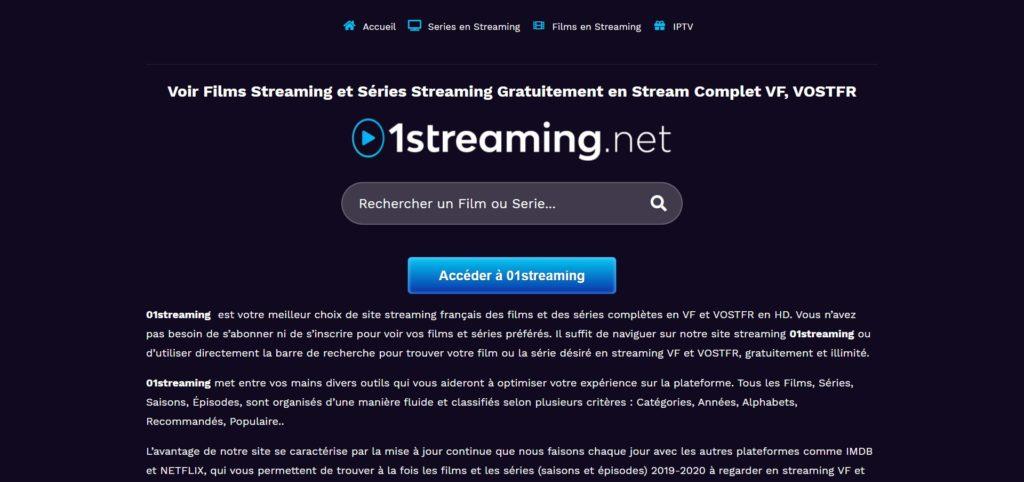01Streaming pour regarder des films et séries en streaming gratuit en 2021
