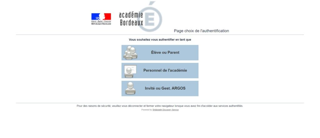 Page choix de l'authentification