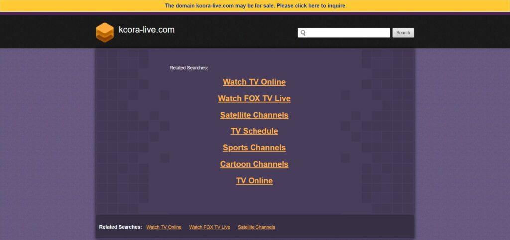 Site officiel Koora live : Comme vous pouvez le voir, le site de live streaming ne fonctionne plus en 2021