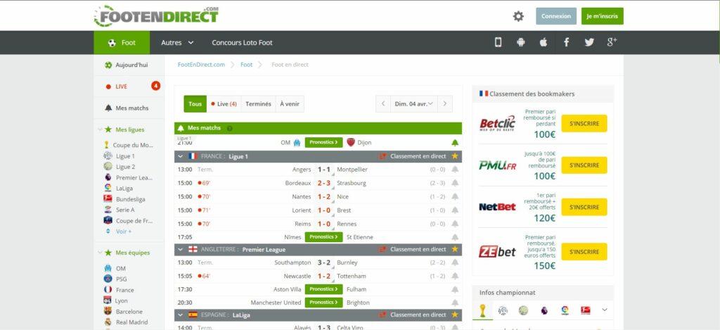 Foot en Direct Live - Score et Résultats Foot des Matchs en Direct