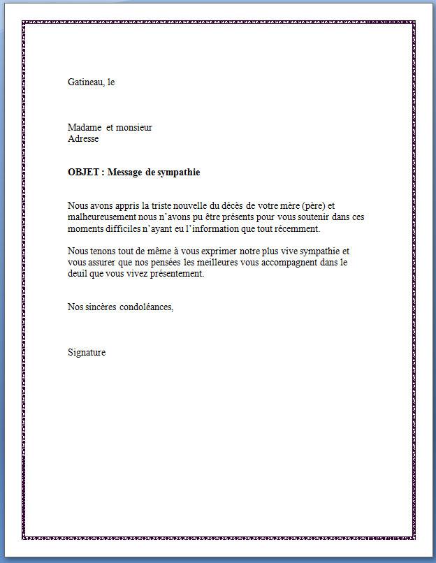 lettre de condoléances professionnelle pour un collègue