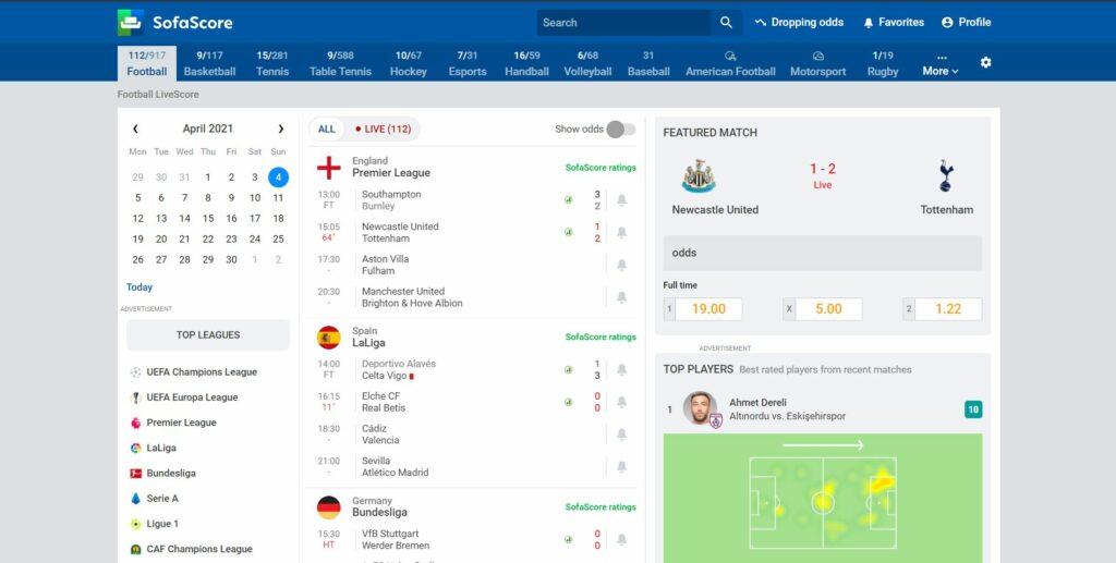 Meilleurs sites live score en direct - SofaScore_ The Fastest Football Scores and Livescore