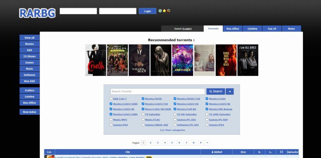 RARBG Torrents , films , séries, documentaires, logiciels et musique.