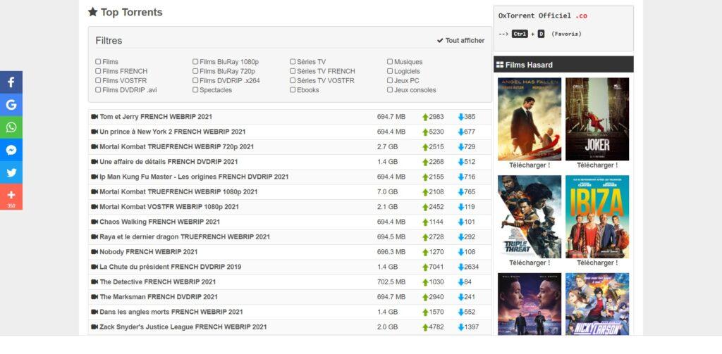 Top torrents sur Oxtorrent