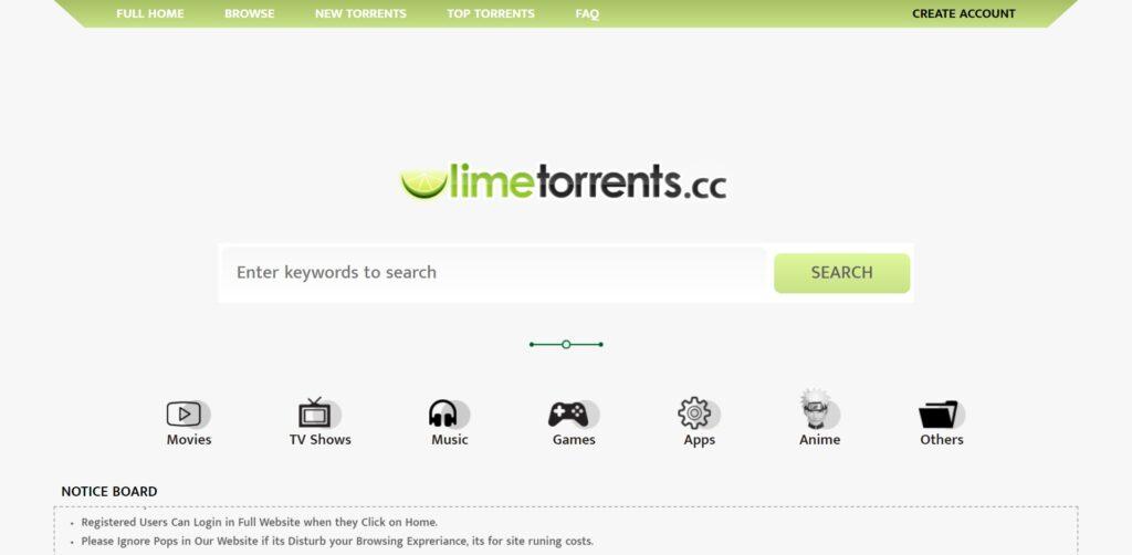 Limetorrents- Télécharger des torrents vérifiés rapidement (capture proxy limetorrents Asia)