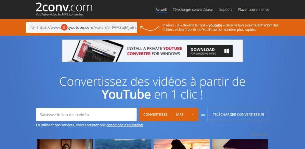 Alternative Y2mate - YouTube en mp3 convertisseur et téléchargeur - 2conv.com