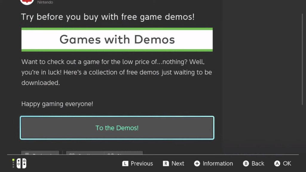 Jeux démos gratuites pour la Nintendo Switch