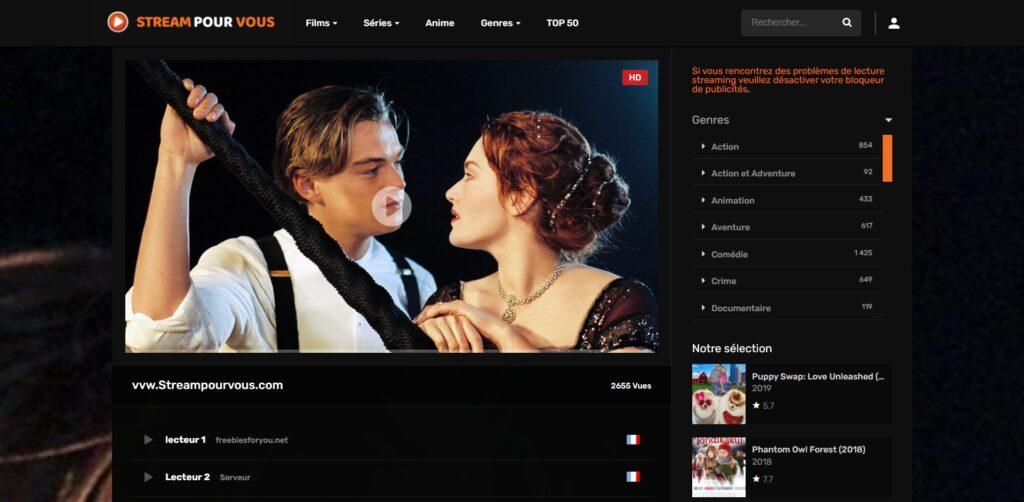 Streaming pour vous - Lecteur streaming sur le site