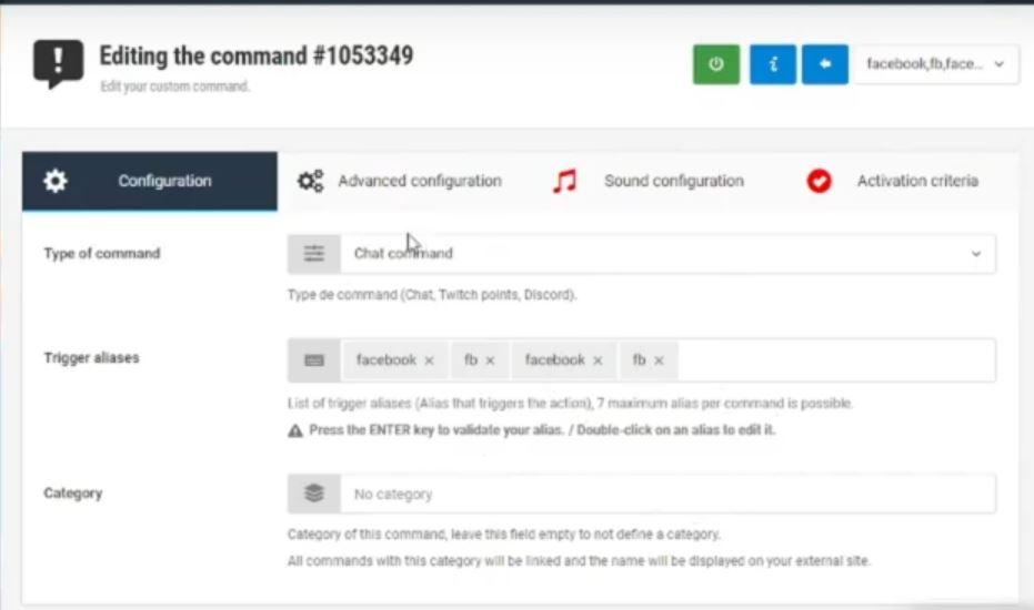 configurer Wizebot Twitch - commands