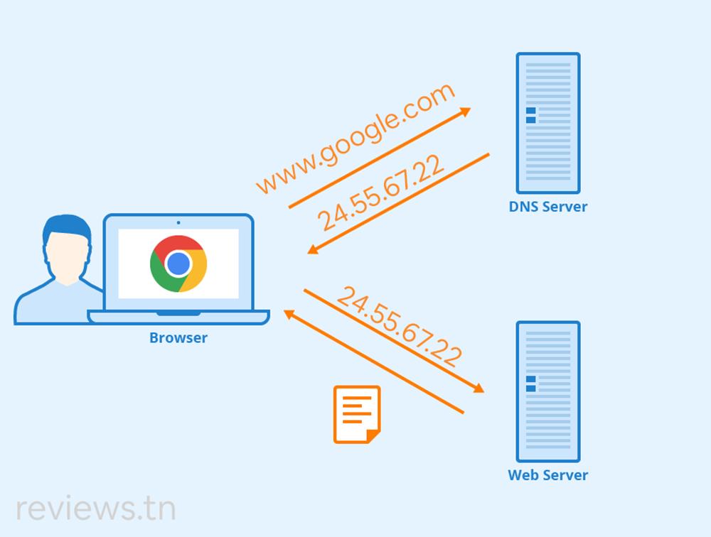 le serveur DNS se charge de traduire les noms de domaine en adresses IP numériques.