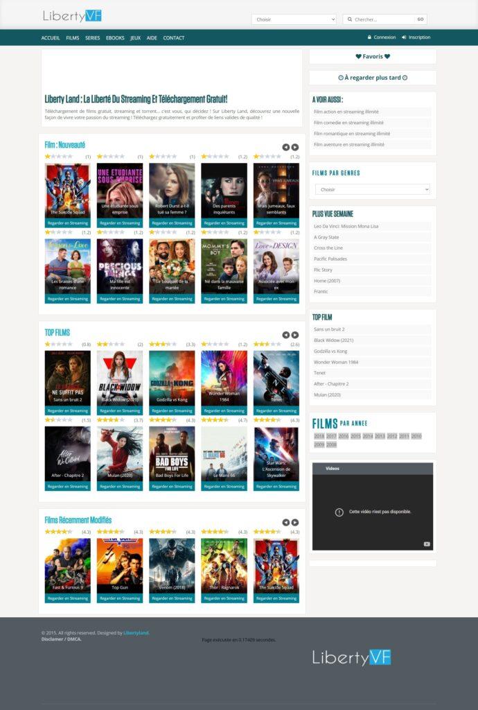 LibertyVF Téléchargement et streaming illimité : Téléchargement de films gratuit, streaming et torrent… c'est vous, qui décidez ! Sur Liberty Land, découvrez une nouvelle façon de vivre votre passion du streaming ! Téléchargez gratuitement et profiter de liens valides de qualité !