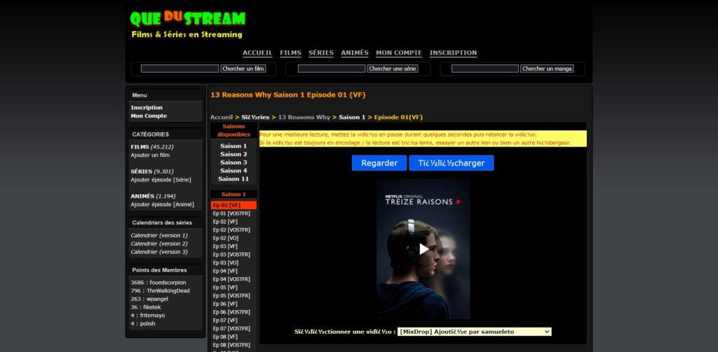 Quedustreaming - Lecteur streaming sur le site