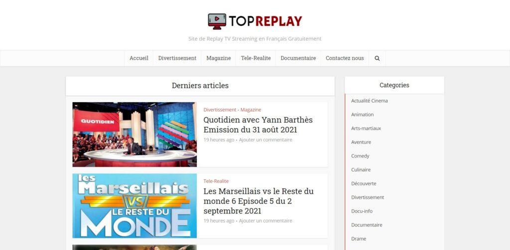 TopReplay - Voir Les Emissions TV en replay streaming gratuit