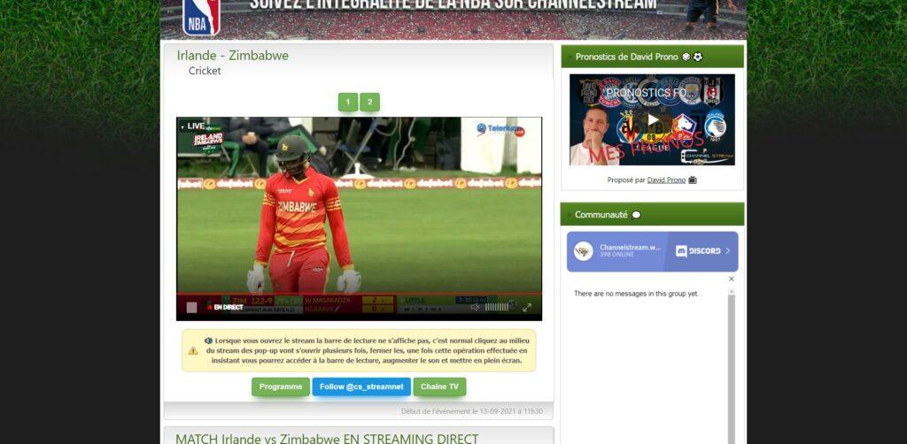 chaînes Sportives en live Streaming - lecteur Channel Stream
